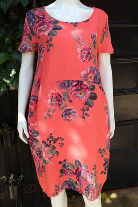 Fleur Rose Pattern Linen Dress Coral