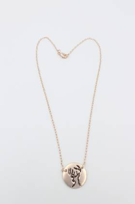 Stag Disc Necklace Rose Gold