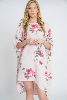 Adeline Linen Dress Light Pink