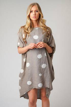 Gigi Linen Spotted Top/ Dress Mocha