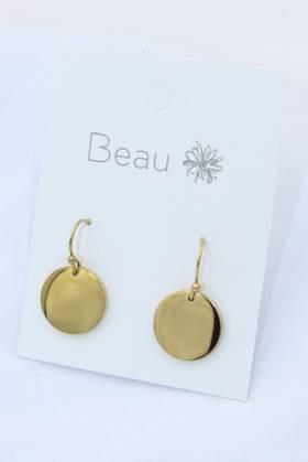 Platter Stainless Steel Earrings Gold