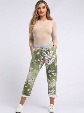 Denver Floral Olive Trousers (Size 14-18)