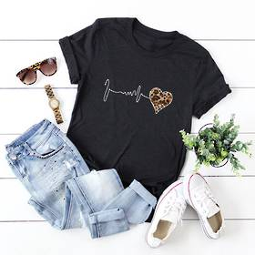 Pulse Heart Cotton T Shirt Black  Pack of 4 (10,12,14,16)