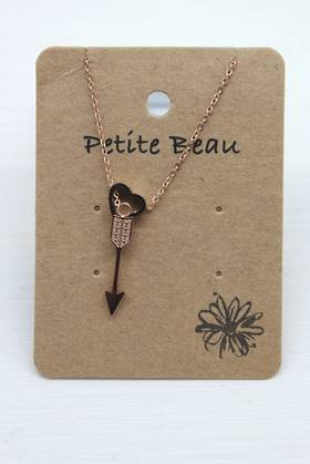 Petite Beau Stainless Steel Arrowheart Necklace