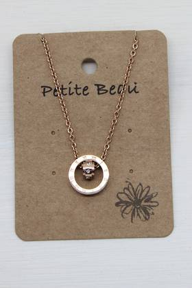 Petite Beau Stainless Steel Saturn Necklace