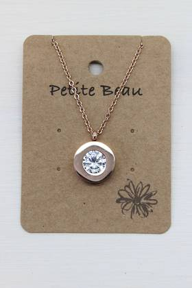 Petite Beau Stainless Steel Diamond Necklace