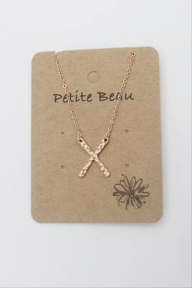 Petite Beau Stainless Steel Dimpled Rose Gold Cross
