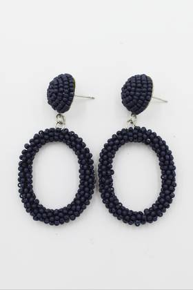 Navy Loop Earrings