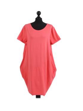 Sasha Cotton Dress Short Sleeve - Coral