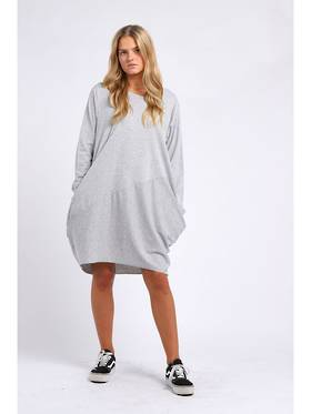 Sasha Cotton Dress - Long Sleeve Light Grey
