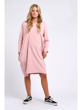 Sasha Cotton Dress - Pink Long Sleeve