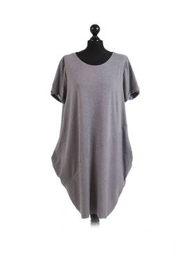 Sasha Cotton Dress Short Sleeve - Dark Grey