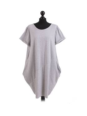 Sasha Cotton Dress Short Sleeve - Light Grey