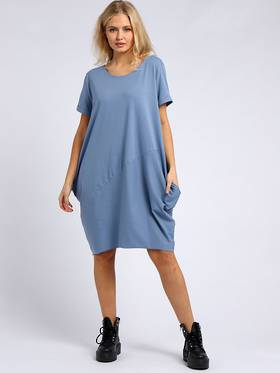 Sasha Cotton Dress- Short Sleeve Denim Blue