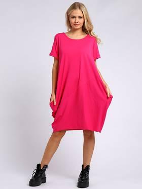 Sasha Cotton Short Sleeve Dress Fushia
