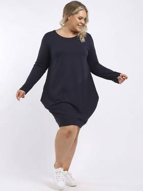 Sasha Cotton Long Sleeved Dress Navy
