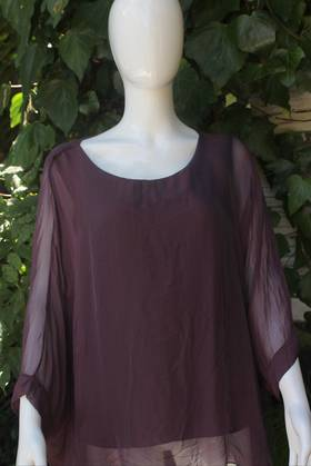Silk Bat Wing Top Wine