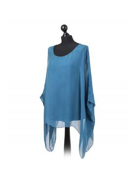 Silk Bat Wing Top Teal