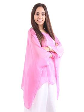 Silk Bat Wing Top Fuchsia
