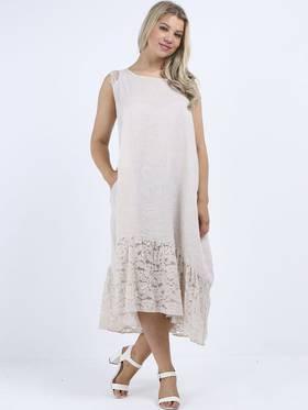 Silvie Lace Long Dress Beige