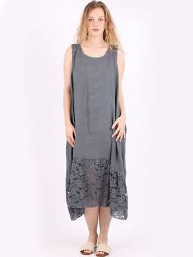 Silvie Lace Long Dress Charcoal