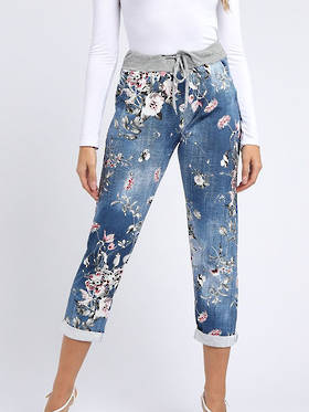 Denver Floral Dark Blue Trousers 12-14