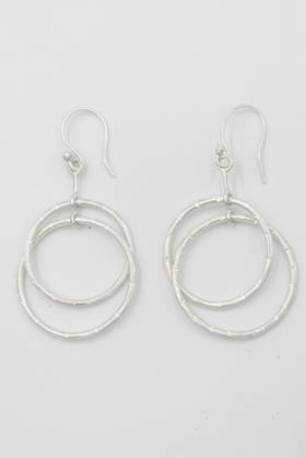 Double Ring Earrings Silver (Brass)