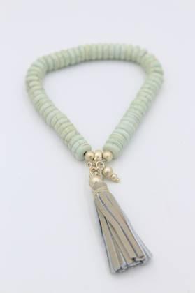 Minty Tassel Bracelet