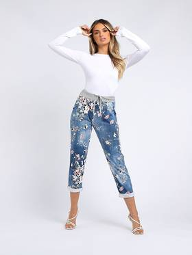 Denver Floral Dark Blue Trousers Size 14-18