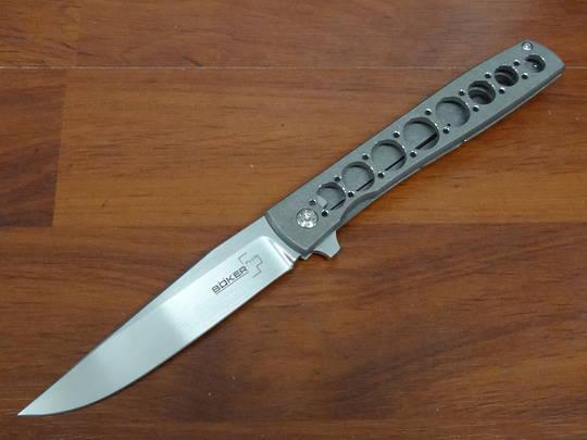 Boker Plus Brad Zinker Urban Trapper Grand Flipper VG10 Satin Plain Blade, Titanium Handles