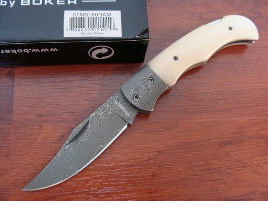 Boker Magnum Damascus Bone Folding Knife