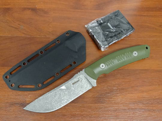 Boker Plus Kornel Kiss Blacklist Fixed, OD Green G10 Handles, Kydex Sheath