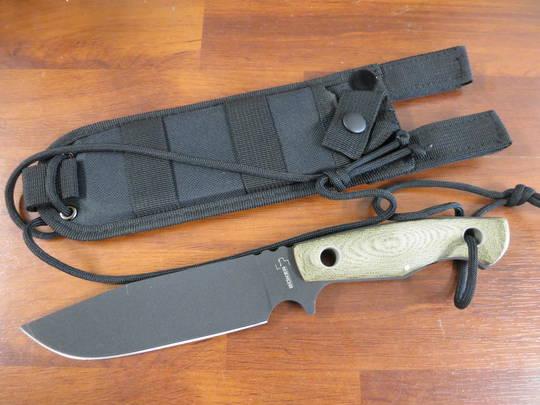 Boker Plus VoxKnives Rold Camp Knife SK5 Blade, Green Micarta Handles, 02BO293