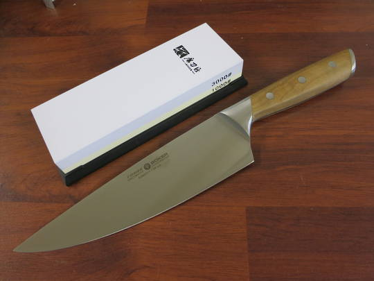 """Boker Forge 8"""" Maple Wood Chef's Knife, Taidea 1000/3000 Grit Sharpening Stone Combo"""