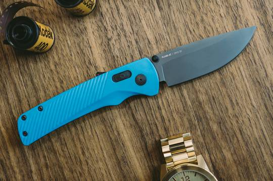 SOG Flash AT Civic Cyan Assisted Folding Knife D2 Black Blade, Blue GRN Handles