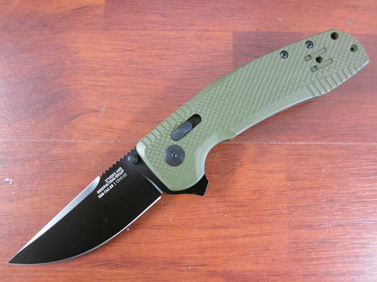 SOG SOG-TAC XR Flipper Knife D2 Black Blade, OD Green G10 Handles - XR Lock