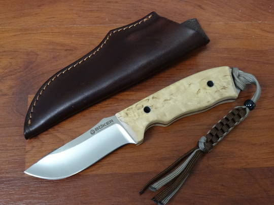 German made BOKER Birch Wood Solid Forest Fixed Blade Carbon Steel Knife - 120579 no box