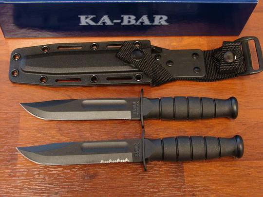 KA-BAR Short Black Knife w/ Kydex Sheath