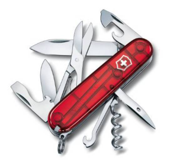 Victorinox Climber Swiss Army Knife - Translucent Red