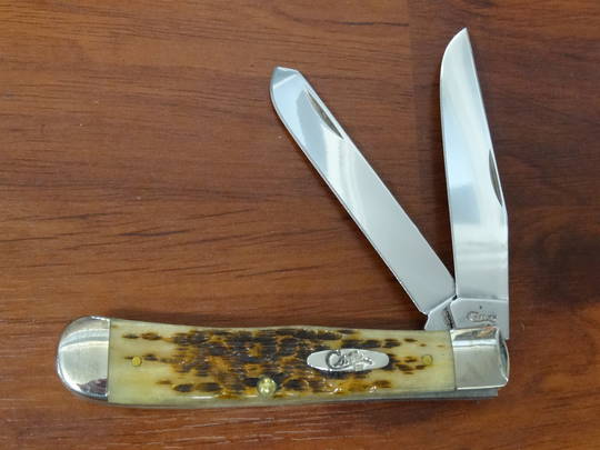 Case Cutlery Trapper Amber Bones Pocket Knife - 164