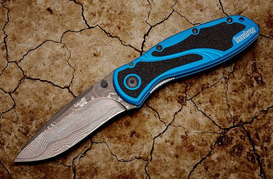 Kershaw Ken Onion Blur Assisted Folding Knife Damascus Blade, Navy Blue Aluminum Handles w/ Trac-Tec Inserts