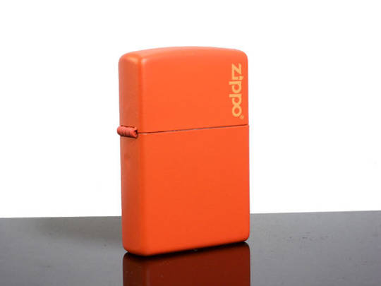 Zippo Orange Matte Logo Lighter