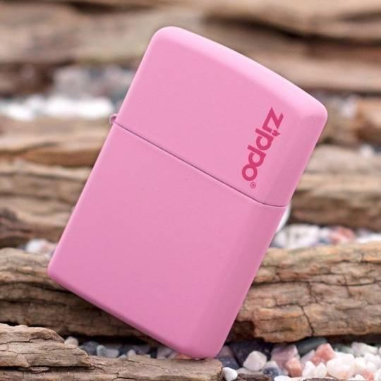 Zippo Pink Matte w/ Logo Lighter