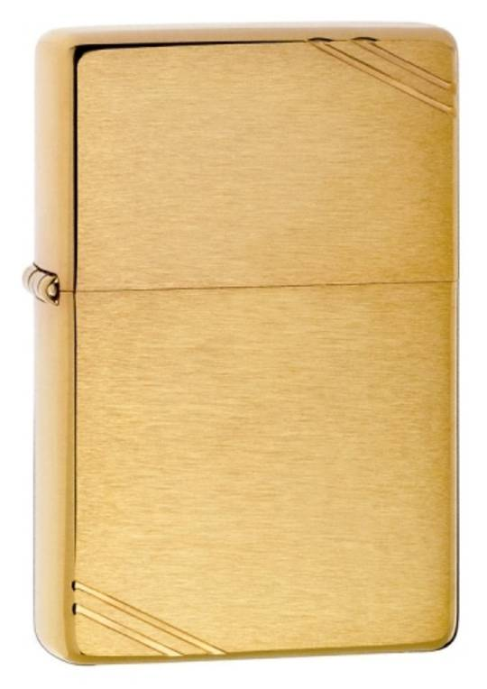 Zippo Vintage w/ Slashes Brushed Brass Lighter