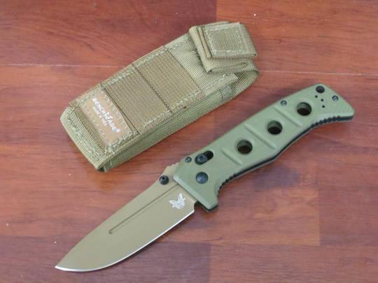 Benchmade Sibert Adamas Folding Knife CruWear Flat Dark Earth Plain Blade, OD Green G10 Handles, w/ Sheath