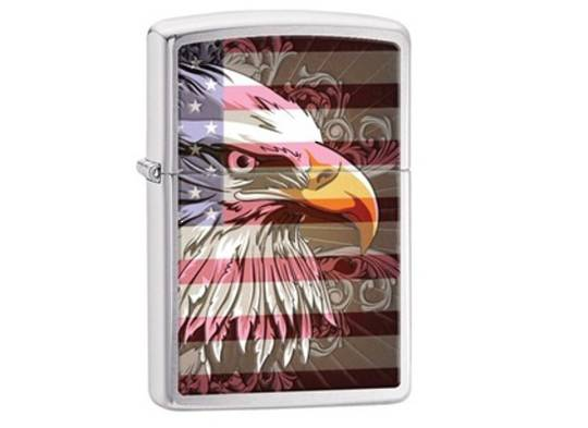Zippo Eagle Flag Brushed Chrome Lighter