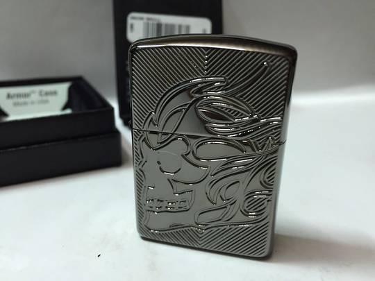 Zippo Skull Armor Black Ice Lighter