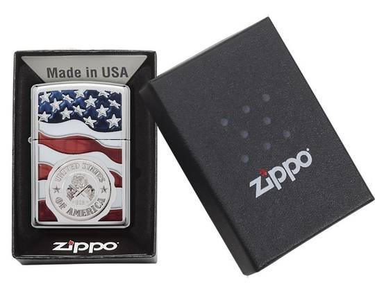 Zippo American Stamp on Flag Lighter