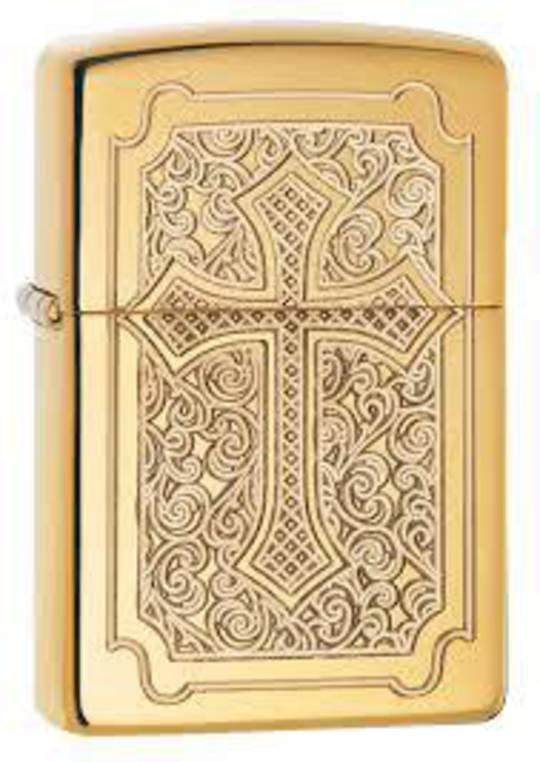 Zippo Eccentric Engraved Religious Cross Brass Lighter