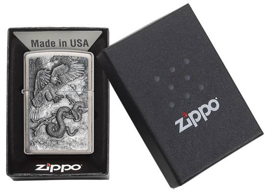 Zippo Eagle vs. Snake Chrome Emblem